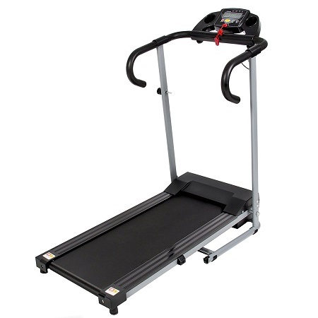 Best Choice Products Black 500W Portable Folding Electric Motorized Treadmill On White Surface