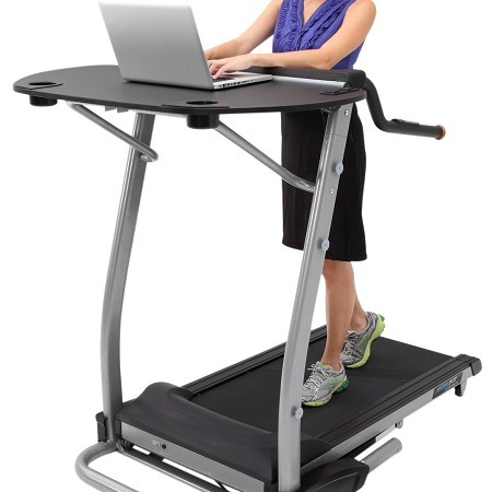 Woman Using Exerpeutic 2000 WorkFit High Capacity Desk Station Treadmill