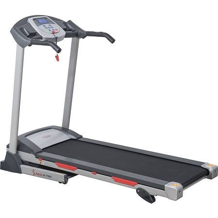 Sunny Health & Fitness SF-T7603 Electric Treadmill On White Surface